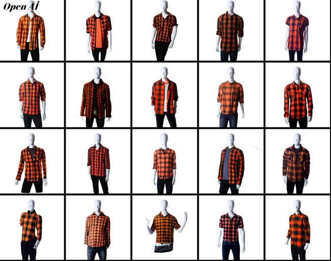dall-e turuncu ve siyah oduncu gömlek