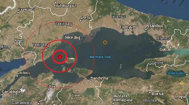 Marmara denizinde deprem