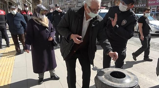 Amasya'da korona virüs denetimleri artırıldı, sokakta sigara içenlere ceza kesildi