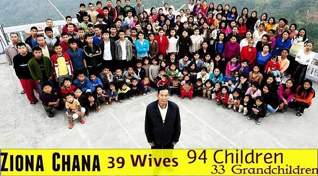 38 eşi ve 94 çocuğu olan Ziona Chana hayatını kayetti